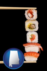 alabama sushi with chopsticks