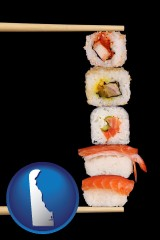 delaware sushi with chopsticks