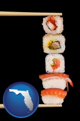 florida sushi with chopsticks