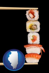 illinois sushi with chopsticks