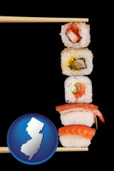 new-jersey sushi with chopsticks