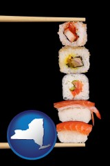 new-york sushi with chopsticks