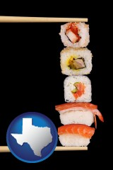 texas sushi with chopsticks