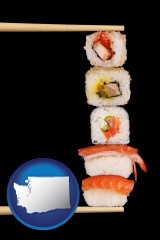 washington sushi with chopsticks