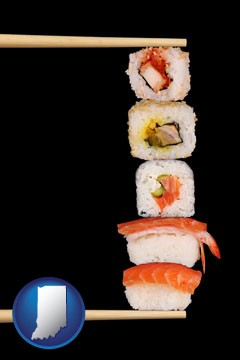 sushi with chopsticks - with Indiana icon