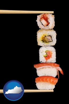 sushi with chopsticks - with Kentucky icon