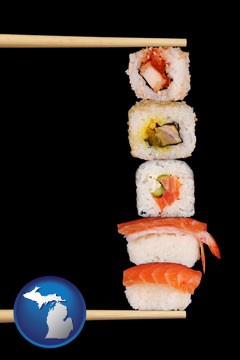 sushi with chopsticks - with Michigan icon