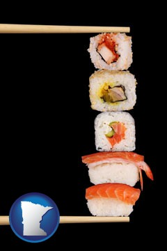 sushi with chopsticks - with Minnesota icon