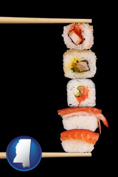 sushi with chopsticks - with Mississippi icon