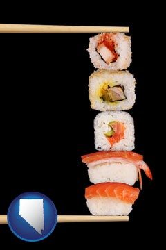sushi with chopsticks - with Nevada icon