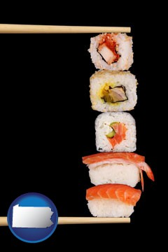sushi with chopsticks - with Pennsylvania icon