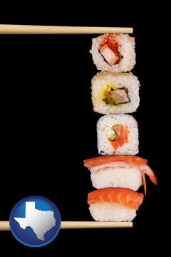sushi with chopsticks - with Texas icon