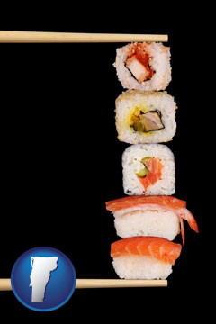 sushi with chopsticks - with Vermont icon