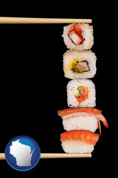 sushi with chopsticks - with Wisconsin icon